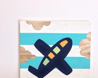 airplane nursery art kids airplane art airplane decor boys airplane art wooden