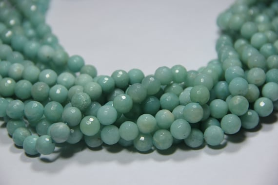 "AA Grade Amazonite 10mm faceted round beads 16"" length strand"