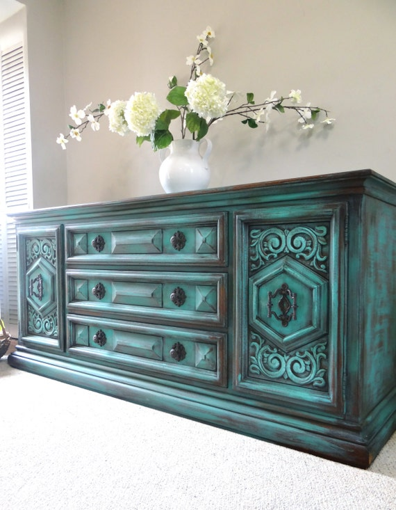 Vintage hand painted french country cottage chic shabby - Muebles pintados vintage ...