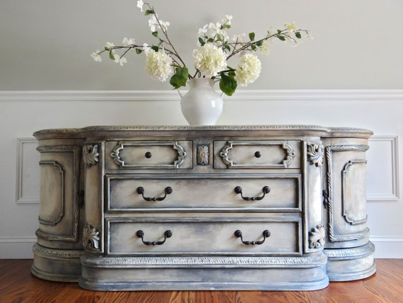 EIA MAGAZINE Featured Carved Wood Ornate Hand Painted French Country Antique White and Grey Buffet Console Cabinet