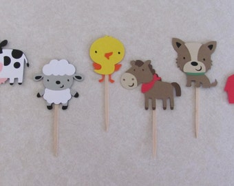Farm, Animal, Barn Cupcake Picks - Set of 12 - Birthday Party