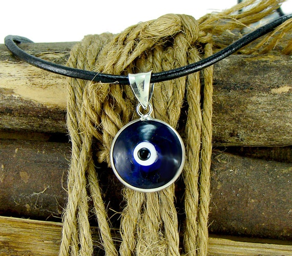 Men evil eye necklace with large 16mm sterling silver pendant like this item mozeypictures Image collections