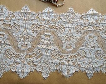 Vintage Chantilly Lace Fabric Trim, White Eyelash Lace, Wedding Table Decor, Shawls, Cuffs, Dresses, Garments