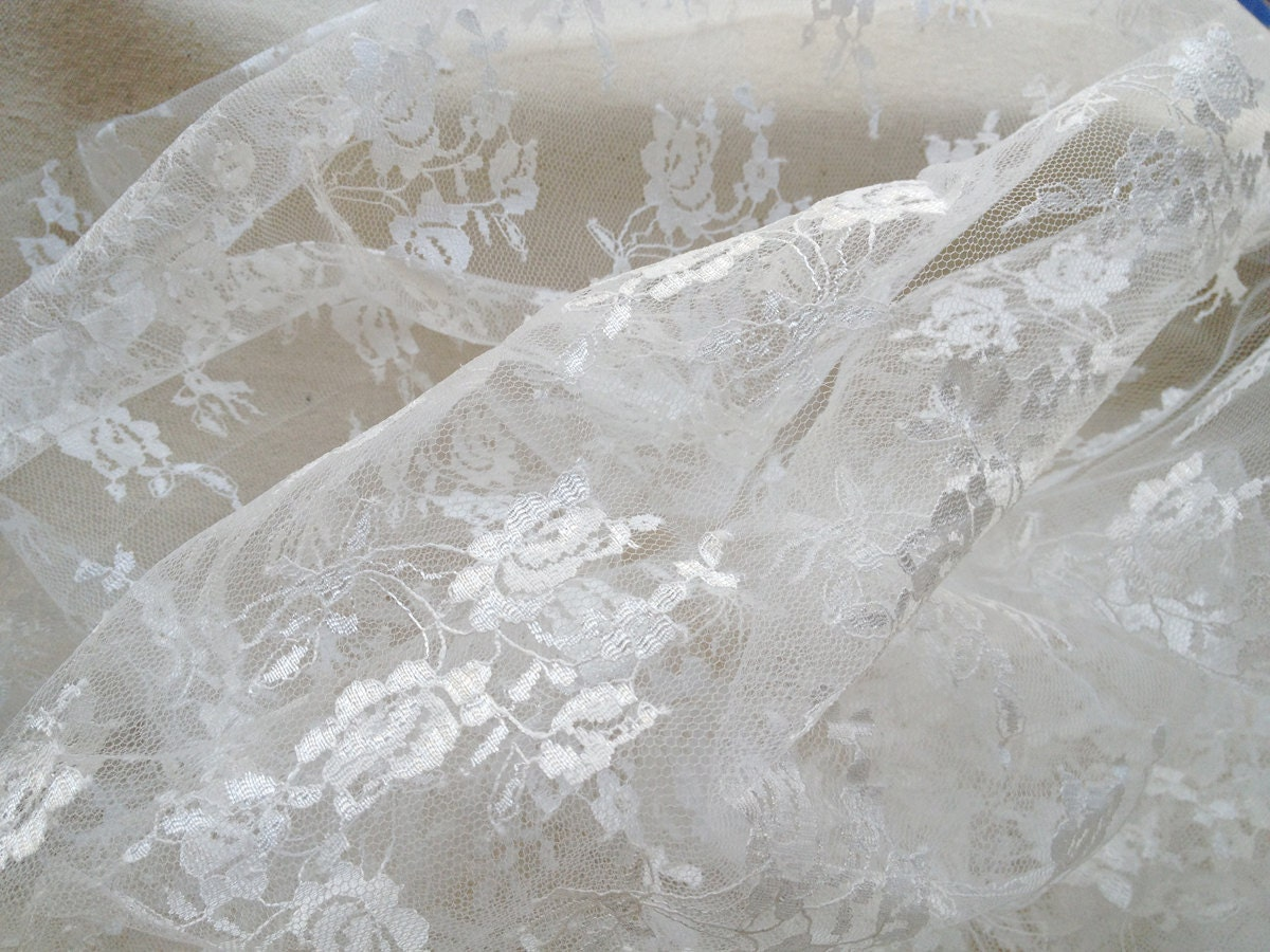 Gorgeous white lace fabric by the yard wedding bridal floral for Wedding dress fabric stores