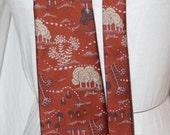 vintage wide tie 70s tapestry jacquard tie oriental look scenic trees