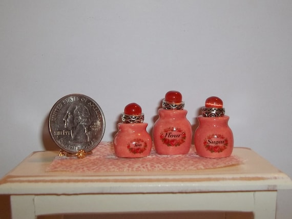 Dollhouse Miniature Kitchen Ceramic Canister Set - Coral