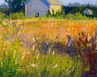 Ramble On - Landscape giclee art print, summer field trio, green, purple and gold hues