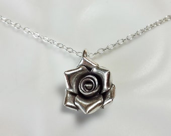 Silver Rose necklace / Sterling silver flower pendant / simple rose charm necklace / bride bridesmaid flower necklace / Silver pendant