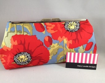 NEW Larger Size Clutch Purse in Perfect Poppies on Blue Cotton with Nickel/Silver Finish Snap Close Frame