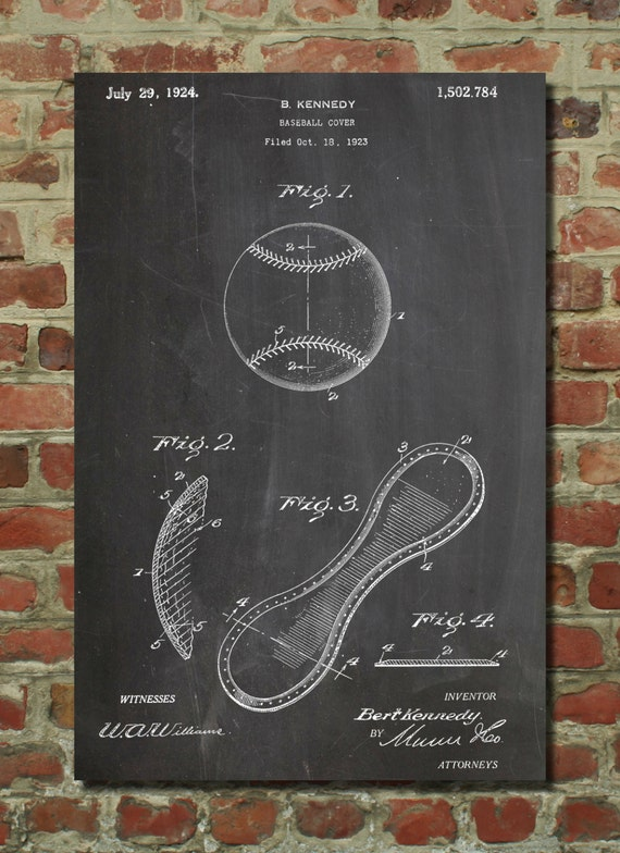 Vintage Baseball Wall Decor : Vintage baseball patent poster wall by