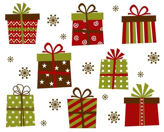 Christmas Gift Boxes Clip Art Xmas Giftboxes Clipart Instant