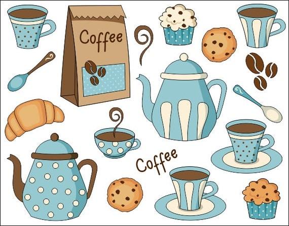 Coffee Time Digital Clip Art Set Digital Clipart Pot Cup