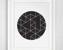 Geometric Print, Circles Art, Black & White, Geometric Print Art, Circle Art, Triangle Print, Black Circle, Geometric Wall Print