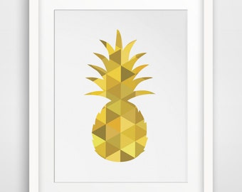 Yellow Pineapple, Pineapple Wall Print, Mustard Yellow Wall Prints, Pineapple Art, Printable Wall Art, Yellow Home Decor, Digital Download