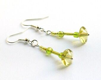 Lime Green Beaded Earrings, Green Drop Earrings on Silver-Plated Earwires
