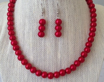 Red Pearl Necklace, Red Bridesmaid Jewelry, Bright Red Wedding Jewelry, Red Bridesmaid Gift, Red Beaded Necklace, Red Beaded Jewelry