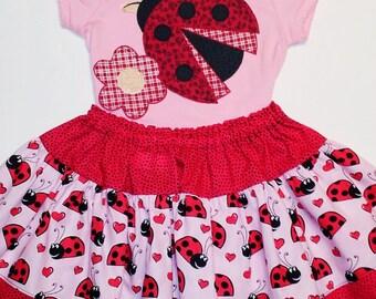 SAMPLE SALE  Ladybug Applique with a Ladybug Skirt and a Hair Clip