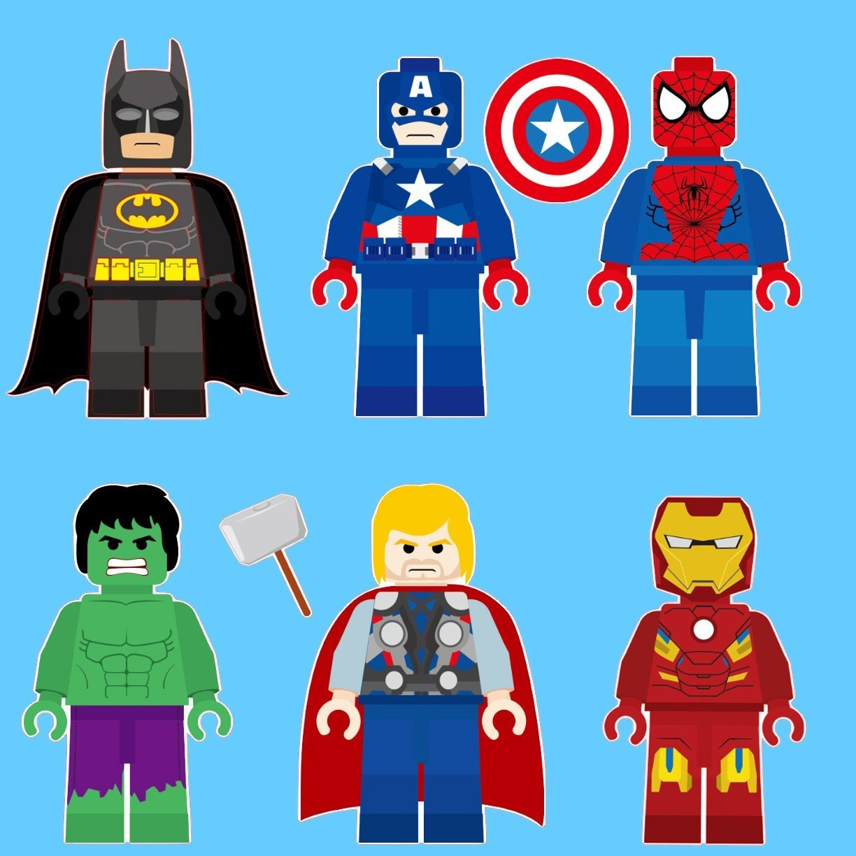 the lego super heroes characters removable wall stickers 6 zoom