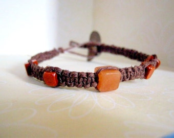 Natural Brown Hemp Bracelet with Square Beads