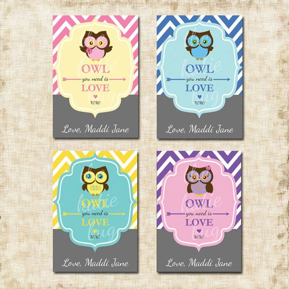 Items similar to Owl Valentine Cards (Printable custom ...