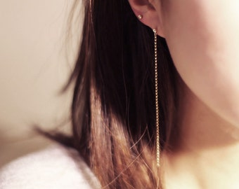 Gold chain hang earrings   EE017