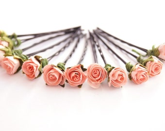 Bridal Hair Accessories, Coral Pink Rose, Coral Pink flower Hair Bobby Pin, Brass Bobby pin- set 12