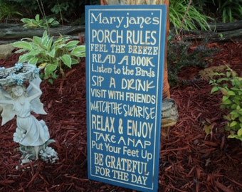 Porch Rules sign CARVED, backyard Rules sign, Deck Rules, Patio Rules 12x24