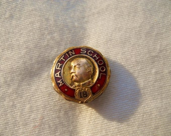 1918 Martin School Lapel Pin by Dorrety Boston