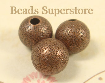 10 mm Antique Copper-Plated Brass Stardust Round Bead - Nickel Free and Lead Free - 12 pcs