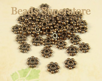 SALE 6 mm Antique Copper Daisy Spacer - Nickel Free, Lead Free and Cadmium Free - 100 pcs (DS6AC)