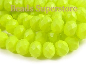 10mm x 8mm Neon Yellow Faceted Rondelle Crystal Bead - 20pcs