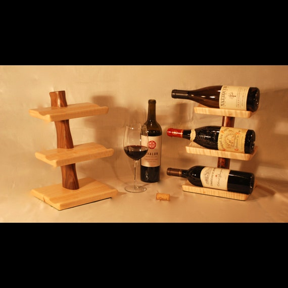Table top hardwood wine rack a small 3 bottle wine rack for Tabletop wine rack plans