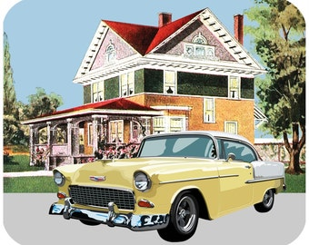 Custom Thick mousepad - 1955 Bel Air With Vintage House - Add your text - Free Shipping