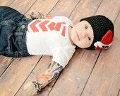 Crochet Tattoo Heart Hat, Mom Tattoo Hat, Dad Tattoo Hat, Photography Prop