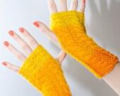 handknitted fingerless mittens lovely colours