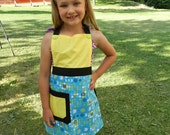 Child Apron: Yellow & Blue w/ Butterfly Pattern