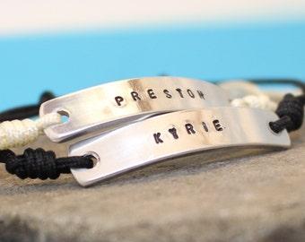 Personalized Bracelets.. Couples Custom Bracelets.. Hand Stamped. Set of two bracelets.. Name and Date bracelets. Aluminum / Sterling Silver