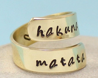 Personalized - Hakuna Matata Custom Ring - Adjustable brass Wrap Ring.. Best Gift.. Personalized  Ring.. Hand Stamped. YOu WiLL LOvE iT