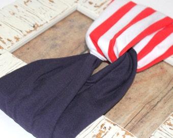 SALE - Turban Style Headband - Adult Headband - Red, White, and Blue