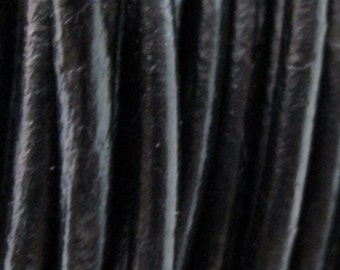 6 feet Black Natural Leather Cord 3 mm, Natural Leather Cord, Round Leather Cord