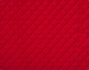 Minky - Red Dimple Dot by Shannon Fabrics 1 FAT Half  30 by 36 inches