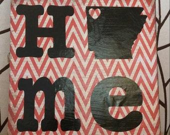12X12, canvas,  Arkansas,  chevron, home decor, home, wall hanging, house warming, Razorbacks, perfect gift!
