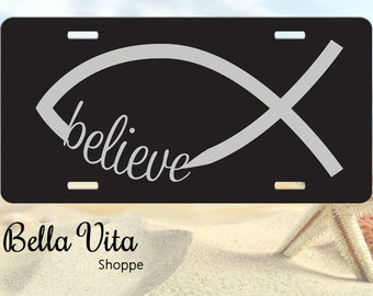 Believe Jesus Fish Car Tag - Front License Plate - Christian Fish 9045