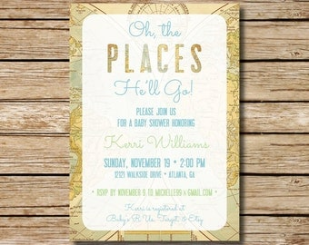 travel theme invite  etsy, Bridal shower invitations