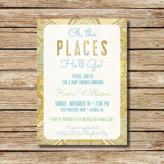 baby shower invitation travel themed shower invite baby oh
