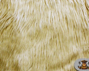 """Faux Fur Long Pile Shaggy CREAM Fabric / 60"""" Wide / Sold by the yard"""