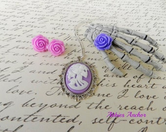 Lavender Lolita Cameo, Skeleton Hand Hair Clip, Lavender Rose Earrings-Pastel Goth Rockabilly Pin Up Victorian Goth Psychobilly