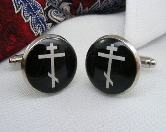 Orthodox Cross - Cufflinks - Mens Accessories - Unique Gift Ideas - For Him - Jewelry - Believe - Faith - Greek Orthodox - Cuff link