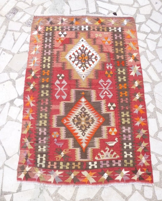 Small Colorful Kilim Area Rug Red Orange And Gray By