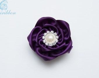 plum flower hair clip - satin flower girl hair bow - you choose color 100